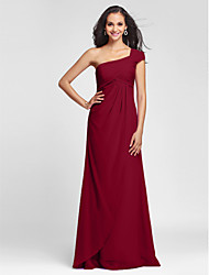 Sheath / Column One Shoulder Floor Length Chiffon Bridesmaid Dress with Criss Cross Side Draping by LAN TING BRIDE®