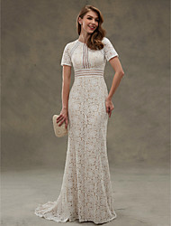LAN TING BRIDE Sheath / Column Wedding Dress - Elegant & Luxurious Open Back See-Through Floor-length Jewel Lace withDraped Lace Sash /