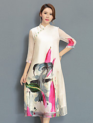 Women's Going out Holiday Plus Size Loose Chiffon Swing Dress,Print Stand Midi ¾ Sleeve Rayon Acrylic Spring Summer Mid Rise Inelastic