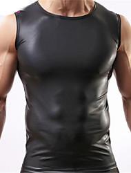 homens sexy colete de couro sintético cor sólida tanque negro encabeça cueca desgaste magro SML XL frete grátis