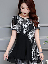 Women's Daily Casual Simple Blouse,Floral Round Neck Short Sleeve Chiffon