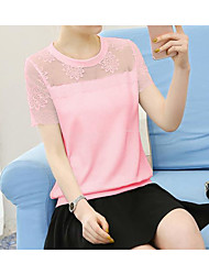 Women's Going out Simple Blouse,Solid Round Neck Short Sleeve Silk Bamboo Fiber