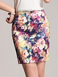 Women's Floral Patterns Casual/Daily Above Knee Skirts,Sexy Bodycon Floral Floral Print Summer