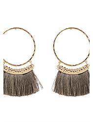 Fashion Womne Fabric Tassel Drop Earrings