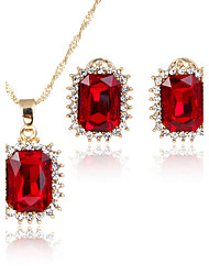 Women's Jewelry Set Pendant Necklaces Bridal Jewelry Sets AAA Cubic Zirconia Square Euramerican Fashion Adorable Simple Style Classic