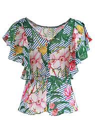 Mujer Bonito Diario Casual Noche Primavera Verano Camiseta,Escote en Pico Estampado Manga Corta Algodón Poliéster Fino