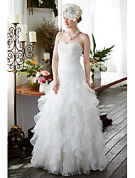 A-line Sweetheart Floor Length Organza Wedding Dress with Beading Ruche