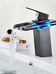Centerset Waterfall LED indicatorOil-rubbed Bronze , Bathroom Sink Faucet