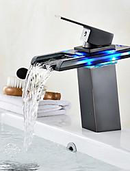 Set de centre Jet pluie Indicateur LEDBronze huilé , Robinet lavabo