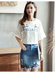 Damen Stickerei Einfach T-shirt,Rundhalsausschnitt Kurzarm Baumwolle