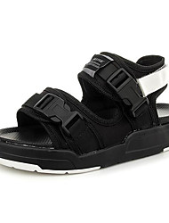 Women's Sandals Comfort PU Fabric Spring Casual Screen Color Black/White Black/Red Flat