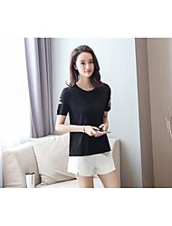 Damen Stickerei Einfach Alltag T-shirt,Rundhalsausschnitt Frühling Sommer Kurzarm Baumwolle