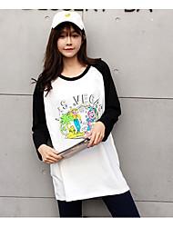 Damen Druck Einfach T-shirt,Rundhalsausschnitt Langarm Baumwolle