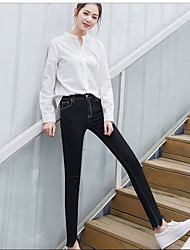 Women's High Waist Micro-elastic Cigarette Pants,Simple Skinny Solid