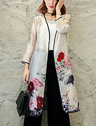 Women's Daily Modern/Comtemporary Spring Trench Coat,Floral Peter Pan Collar Long Sleeve Long Others Chinlon