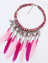 Big Elliptical Tassel Multicolor Feather Turkish Necklaces Acrylic Women's Bohemian Beach Choker Necklace Statement Jewelry