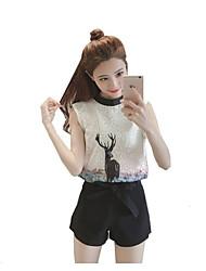 Women's Wedding Housewarming Magnetic Cat Eye Matte Spring Shirt Skirt Suits,Solid Round Neck ¾ Sleeve