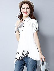 Damen Stickerei Einfach Normal T-shirt,Hemdkragen Sommer Kurzarm Baumwolle Mittel