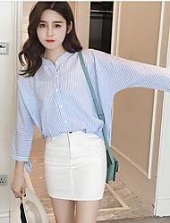 Mujer Simple Camiseta,Escote Chino A Rayas Manga Larga Poliéster