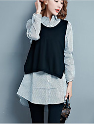 Tee-shirt Femme,Couleur Pleine Sortie simple Toutes les Saisons Manches Longues Col Arrondi Coton Moyen