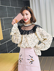 Women's Daily Cute Blouse,Floral Crew Neck Long Sleeve Polyester