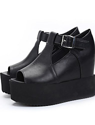 Women's Sandals Gladiator Creepers Comfort PU Spring Casual Black Flat
