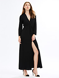 Women's Casual/Daily / Party Sexy / Simple Ruched Split Sheath DressSolid Deep V Maxi Long Sleeve  Mid Rise