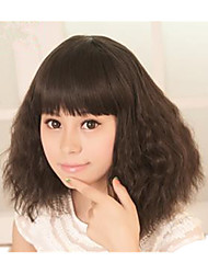 Capless Kinky Curly Wig Synthetic Fiber Wig Black Color Heat Resistant Wig With Neat Bangs