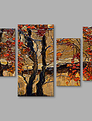 Hand-Painted Abstract Knife Red Tree Modern 4 Panels Canvas Oil Painting For Home Decoration