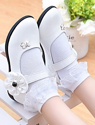 Girls' Flats Flower Girl Shoes First Walkers Leatherette Spring Fall Outdoor Casual Walking Magic Tape Low Heel Rose Pink Black White Flat