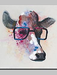 Pintura abstrata moderna do óleo da lona pintada mão da vaca com frame esticado
