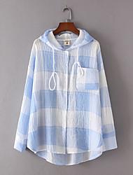 Damen Gitter Sexy Einfach Street Schick Ausgehen Lässig/Alltäglich T-shirt,Mit Kapuze Sommer Kurzarm Baumwolle Dünn Mittel