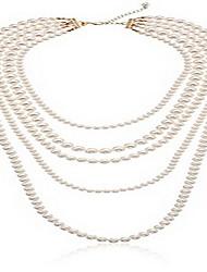 Жен. Слоистые ожерелья шарф ожерелья Бижутерия Бижутерия Жемчуг Сплав Уникальный дизайн Мода Euramerican Бижутерия ДляСвадьба Для