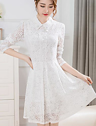 Women's Going out Cute A Line Dress,Solid Jacquard Shirt Collar Above Knee Long Sleeve Rayon Polyester Spring Summer Mid Rise