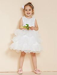 Princesse courte / mini robe de fille fleur - dentelle organza satin sans manches cravate avec volants