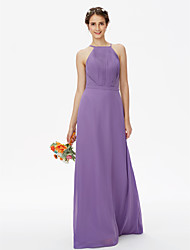 Sheath / Column Spaghetti Straps Floor Length Chiffon Bridesmaid Dress with Draping Sashes / Ribbons Side Draping by LAN TING BRIDE®