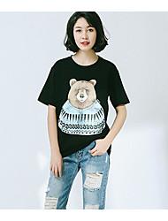 Damen Muster Einfach Alltag T-shirt,Rundhalsausschnitt Kurzarm Baumwolle