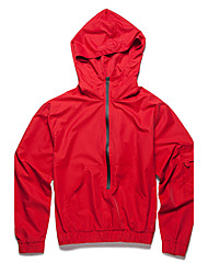 Men's Daily Casual Simple Casual Spring/Fall Jacket,Solid Hooded Long Sleeve Regular Polyester Taffeta