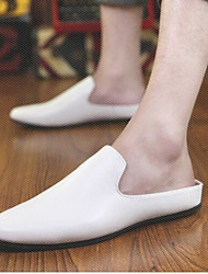 Men's Clogs & Mules Comfort Leather Tulle Spring Casual Comfort White Black Light Grey Blue Flat