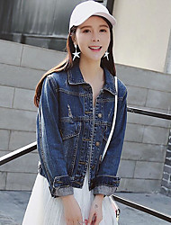 Women's Casual/Daily Simple Spring Denim Jacket,Solid Shirt Collar Long Sleeve Short Linen