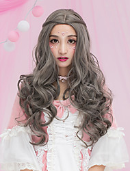 Women Long Dark Brown Chestnut Brown Ash Brown Brown Grey Wavy Middle Part Synthetic Hair CaplessHalloween Wig Carnival Wig Lolita Wig