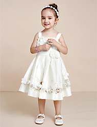Princess Tea Length Flower Girl Dress - Satin Sleeveless Strap with Applique