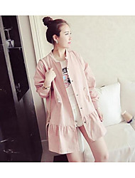 Women's Going out Casual/Daily Simple Spring Trench Coat,Solid Stand Long Sleeve Long Cotton