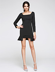 TS Couture Cocktail Party Prom Dress - Little Black Dress Sheath / Column Square Short / Mini Jersey with Pleats