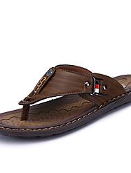 Men's Slippers & Flip-Flops Comfort PU Spring Summer Casual Beading Flat Heel Khaki Brown Flat