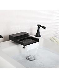3-Loch-Armatur Wasserfall with  Keramisches Ventil Zwei Griffe Drei Löcher for  Schwarz , Badewannenarmaturen