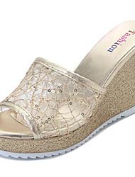 Damen Sandalen PU Sommer Keilabsatz Gold Silber 12 cm & mehr
