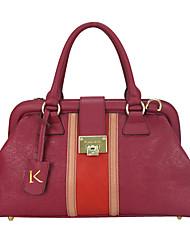 Kate&Co. fashion Retro Modern color stitching leather bag / Handbag elegant minimalist TH-02164 red