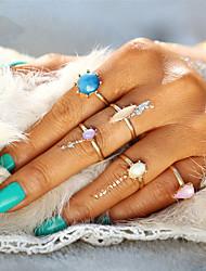 Fashion Sweet Candy Colors Flower Adjustable Crystal Midi Ring Sets for Women 5pcs/Set Boho Beach Vintage Turkish Punk Elegant Knuckle Ring