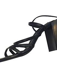 Mujer Sandalias PU Verano Vestido Hebilla Talón de bloque Negro Morrón Oscuro 5 - 7 cms